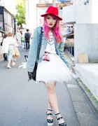 Moth in Lilac's Lisa13 w/ Denim Jacket, ANAP Tutu & Yosuke Platform Heels in Harajuku