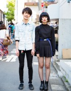 Harajuku Duo in Minimalist Fashion w/ Skinny Jeans, Pleated Skirt, Fishnets & Denim