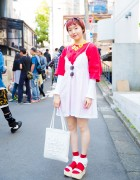 Harajuku Girl w/ Pink Hair in Tokyo Bopper Platform Sandals & Vintage Fashion