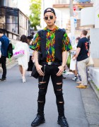 Harajuku Guy in Flames Print Shirt, Ripped Jeans, M.Y.O.B. Tote Bag & Nike Sneakers