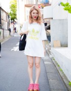 Harajuku Girl in Adidas T-Shirt, Merry Jenny Bag & Pink Fringe Sandals