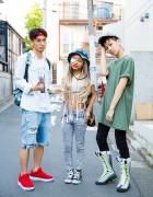 Harajuku Trio Wearing Denim, Airmax 95 Boots, Crop Top & Sprayground Backpack