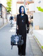 Blue-Haired Harajuku Girl in All Black Killstar Hooded Dress & Yosuke Platform Gladiator Sandals