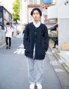 Harajuku Guy in Resale Jacket, Uniqlo, Marc by Marc Jacobs & StreamTrail Backpack