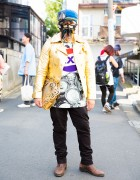 Harajuku Guy with Face Mask in Quartet Jacket, Dog Clutch & Zara Boots