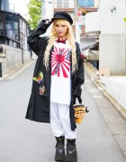 Blonde Harajuku Girl in Remake Fashion, Geisha Jacket & Buffalo Platforms