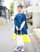 Harajuku Girl in Handmade Dress with Facetasm Top & Tokyo Bopper Tote Bag and Sneakers