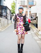Harajuku Girl in Texture, Lace, and Print Vintage Fashion, Michel Klein, and Vintage Accessories