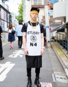 Harajuku Guy in Stussy Shirt and Zipper Skirt Over Pants