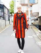 Platinum Blonde Harajuku Guy in Red and Black Fashion with Sulvam, Christian Dada, Little Big, Converse and Dior