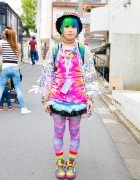 Harajuku Girl in Rainbow Fashion & Piercings w/ ACDC Rag, Sprayground, Swimmer Japan & Claire's