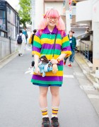 Pink-Haired Harajuku Girl in Kawaii and Vintage Fashion with Pa$$le, 6%DokiDoki & Adidas