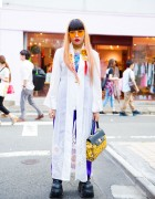 Harajuku Girl in Long Jacket, Demonia Platforms, Gianni Versace & Kobinai