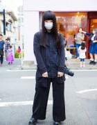 Minimalist Fashion in Harajuku w/ Wide Leg Pants, Polka Dot Shirt & Cardigan