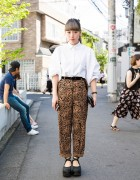 Stylish Harajuku Girl w/ Nadia Dress Shirt, The Virgins Cheetah Print & Tokyo Bopper