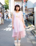 Harajuku Pastel Lingerie Style w/ Pink Negligee, Beret, Ruffle Socks & Ankle Boots