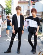 Harajuku Guys in Black & White Minimalist Fashion w/ Studious, Vivienne Westwood, Womb & Converse