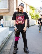 Harajuku Guy's Street Style w/ Shaved Hair, Bandana, Band Tee & New Rock Boots
