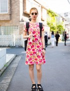 Pixie Cut Harajuku Girl in Zucca Floral Print Dress and Nike Athletic Baby Doll Shoes