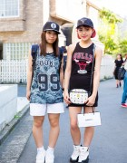 Harajuku Girls in Sporty Chic Fashion w/ NBA Chicago Bulls Jerseys, X-Girl, Nike & Adidas