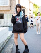 Harajuku Girl w/ Piercings in Black Brain Oversized Sweatshirt & Demonia Platforms