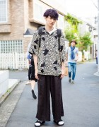 Purple-haired Harajuku Guy in Floral Print Shirt & Wide Leg Pants Resale Fashion