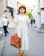 Harajuku Girl in Vintage Style w/ Laura Ashley Dress, Leather Satchel & G.H. Bass & Co. Shoes