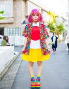 Pink-haired Harajuku Girl in Colorful Fashion w/ Kinji, Candy Stripper & 6%DOKIDOKI