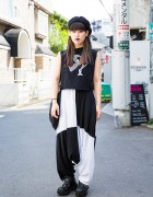 Harajuku Girl in Black & White Fashion w/ Pameo Pose, Ikumi & Yosuke