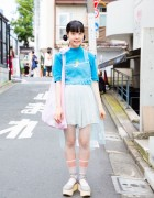 Harajuku Girl in Sheer Dress Over Pin Nap Fashion & Tokyo Bopper Shoes