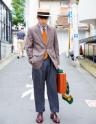Harajuku Guy in Vintage Suit Street Style & CA4LA Hat