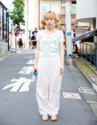 Twin-tailed Harajuku Blonde in Nightwear As Outerwear Resale Fashion w/ The Virgin Mary & Amijed