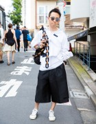 Harajuku Guy in Black & White Street Fashion w/ H&M, Alexander McQueen & Raf Simons