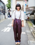 Harajuku EDM Group Member in Resale Fashion w/ Suspenders & Silk Trousers