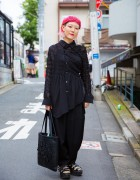 Pink Haired Harajuku Designer in All Black Fashion w/ Comme des Garcons & Tokyo Bopper