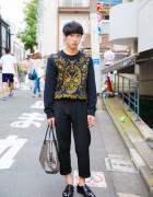 Alexander McQueen Floral Skull Sweater, Prada & Goyard Bag in Harajuku