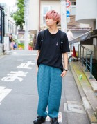 Pink Haired Harajuku Guy In Minimalist Street Style w/ Chance Chance & Tokyo Bopper