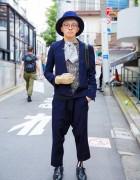 Dashing Harajuku Guy in Diet Butchet Slim Skin, KTZ & Vintage Loafers