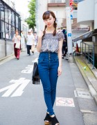 Harajuku Girl w/ Twin Braids in Trendy Denim & Gingham Street Style
