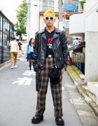 Harajuku Guy's Punk Inspired Street Style w/ Yellow Hair, Biker Jacket, Demonia & MYOB NYC