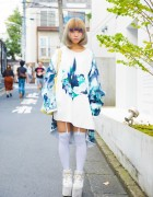 Blonde Harajuku Girl in Balmung Asymmetrical Dress, YRU Platforms & Pompompurin