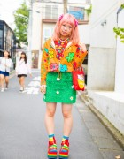 Twin Tailed Harajuku Girl in Colorful Pop Fashion w/ Kinji, Candy Stripper & Rainbow Socks