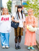 Harajuku Trio in Cute Resale Fashion w/ Tokyo Bopper, Southpaw, MYOB, Candy Stripper & Pompompurin