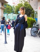 Harajuku Girl in All Black Fashion w/ Faith Tokyo, Vivienne Westwood & Vintage Items
