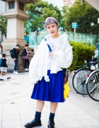 Harajuku Girl w/ Lilac Hair in Comme des Garcons, Mikio Sakabe, Birdman & Punk Cake Items