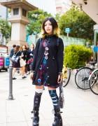 Harajuku Girl in Dark Style w/ Sexpot Revenge, Killstar & Yosuke Boots