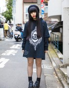 Harajuku Girl in Dark Street Fashion w/ Fishnets, Creepers & Beret
