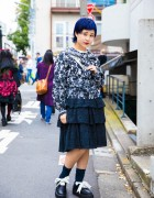 Blue-Haired Harajuku Girl in Mikio Sakabe x Pink House, Punk Cake & Tokyo Bopper