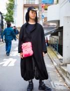 Harajuku Guy in Street Style Minimalist Fashion w/ Yohji Yamamoto & Room Boy Pony