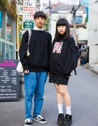 Harajuku Duo in Chic Sweater Fashion Styles w/ Bubbles, Champion, Candy Stripper, Vans & More